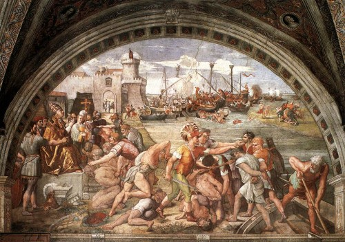 The Christians take the victory in the Battle of Ostia